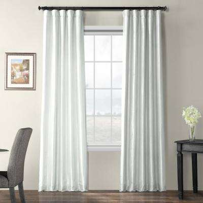 Feather Grey Gray Blackout Faux Silk Taffeta Curtain - 50 in. W x 96 in. L