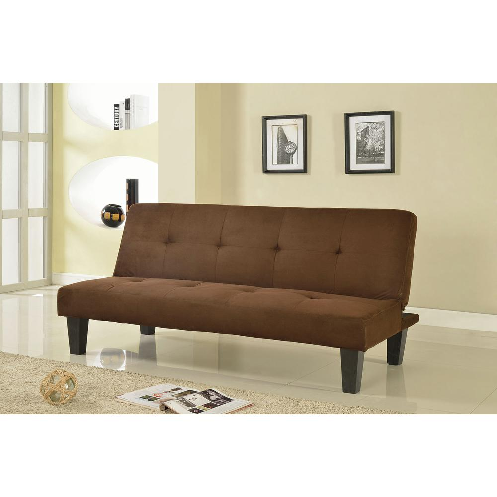 Chocolate Brown Microfiber Convertible Sofa Bed Futon