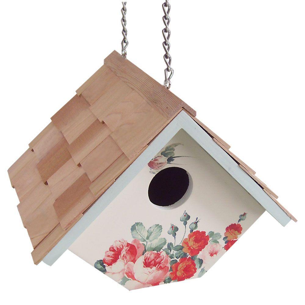 Home Bazaar Peony, Cream Background Printed Wren Hanging Birdhouse