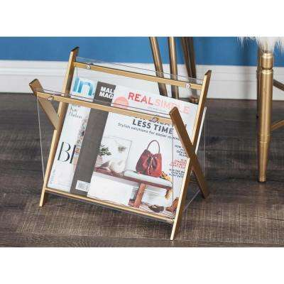 X-Frame Gold-Finished Iron and Clear Acrylic Magazine Holder