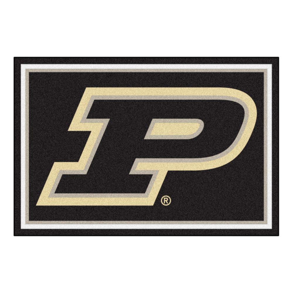 fanmats ncaa purdue university p logo black 5 ft x 8 ft indoor rh homedepot com New Purdue Logo purdue university p logo