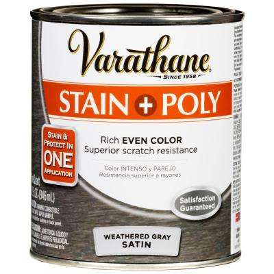 1-qt. Weathered Gray Satin Water-Based Interior Stain and Polyurethane (2 Pack)