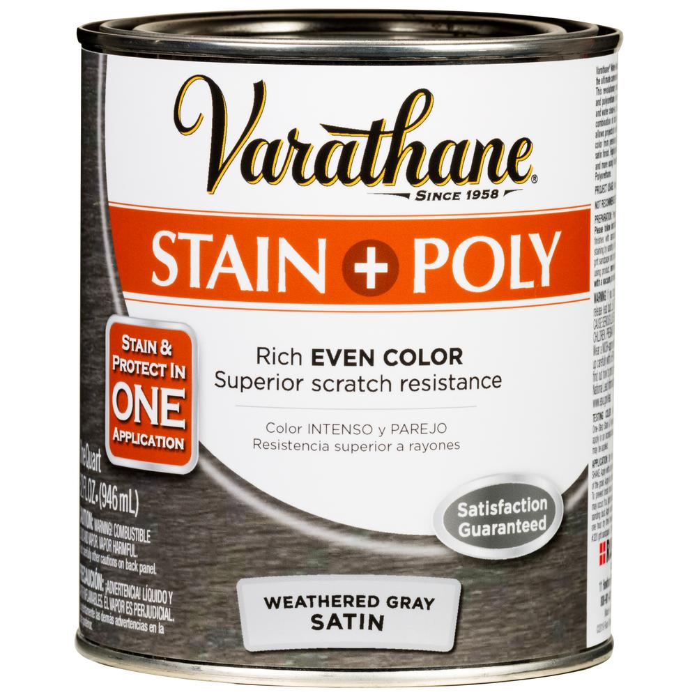 Varathane 1 Qt. Weathered Gray Satin Water-Based Interior Wood Stain and Polyurethane (2-Pack)