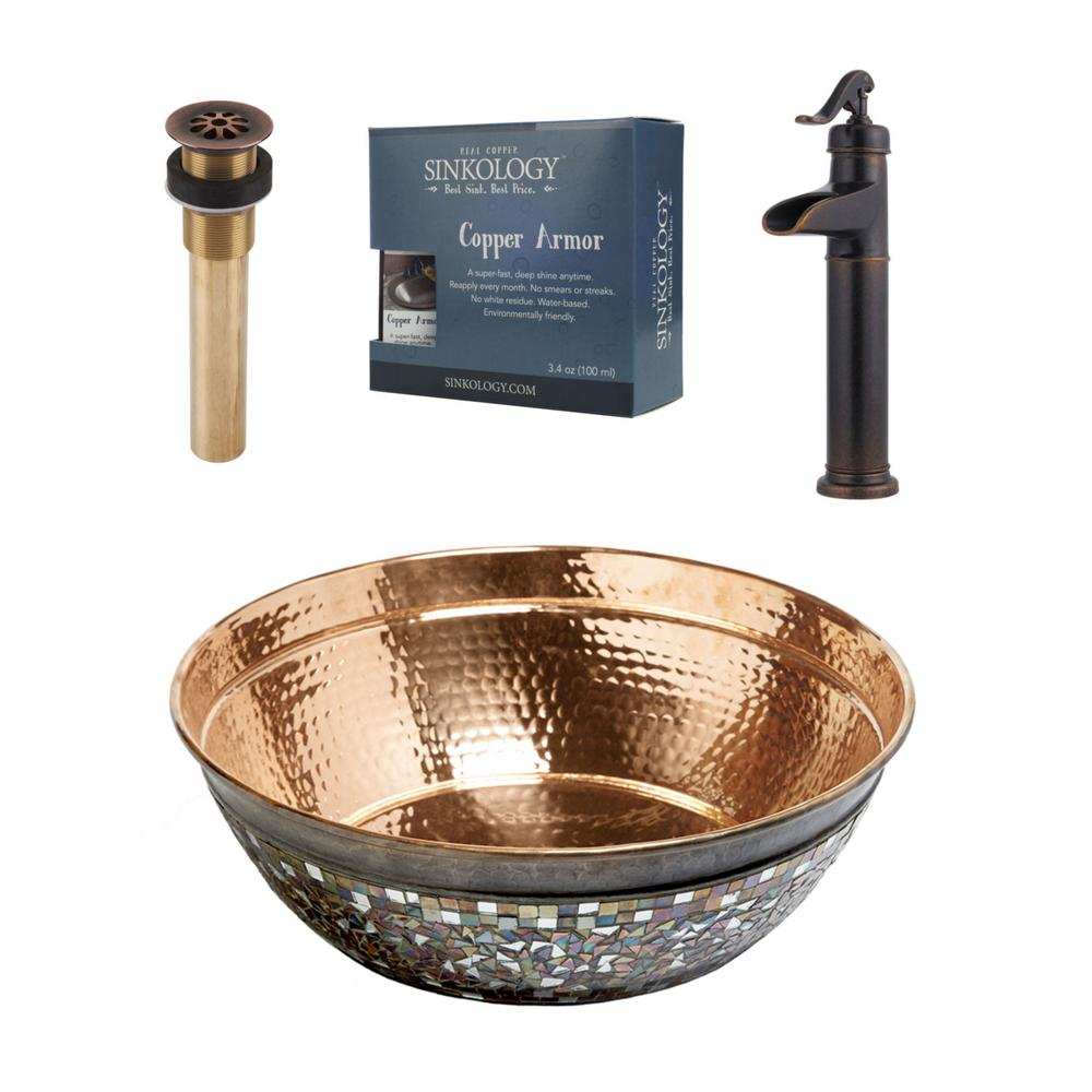 SINKOLOGY Bardeen All-In-One 16 in. Copper Bathroom Vessel Sink with Pfister Ashfield Rustic Bronze Faucet and Drain