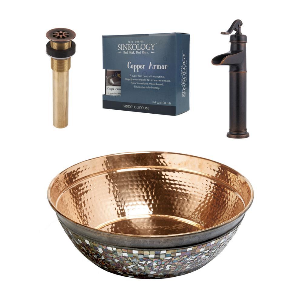 SINKOLOGY Pfister All-In-One Copper Vessel Sink Bardeen Design Kit with Ashfield Rustic Bronze Vessel Faucet by SINKOLOGY