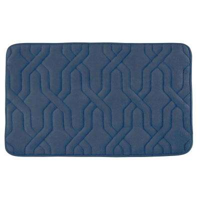 Drona Dusty Blue 17 in. x 24 in. Memory Foam Bath Mat