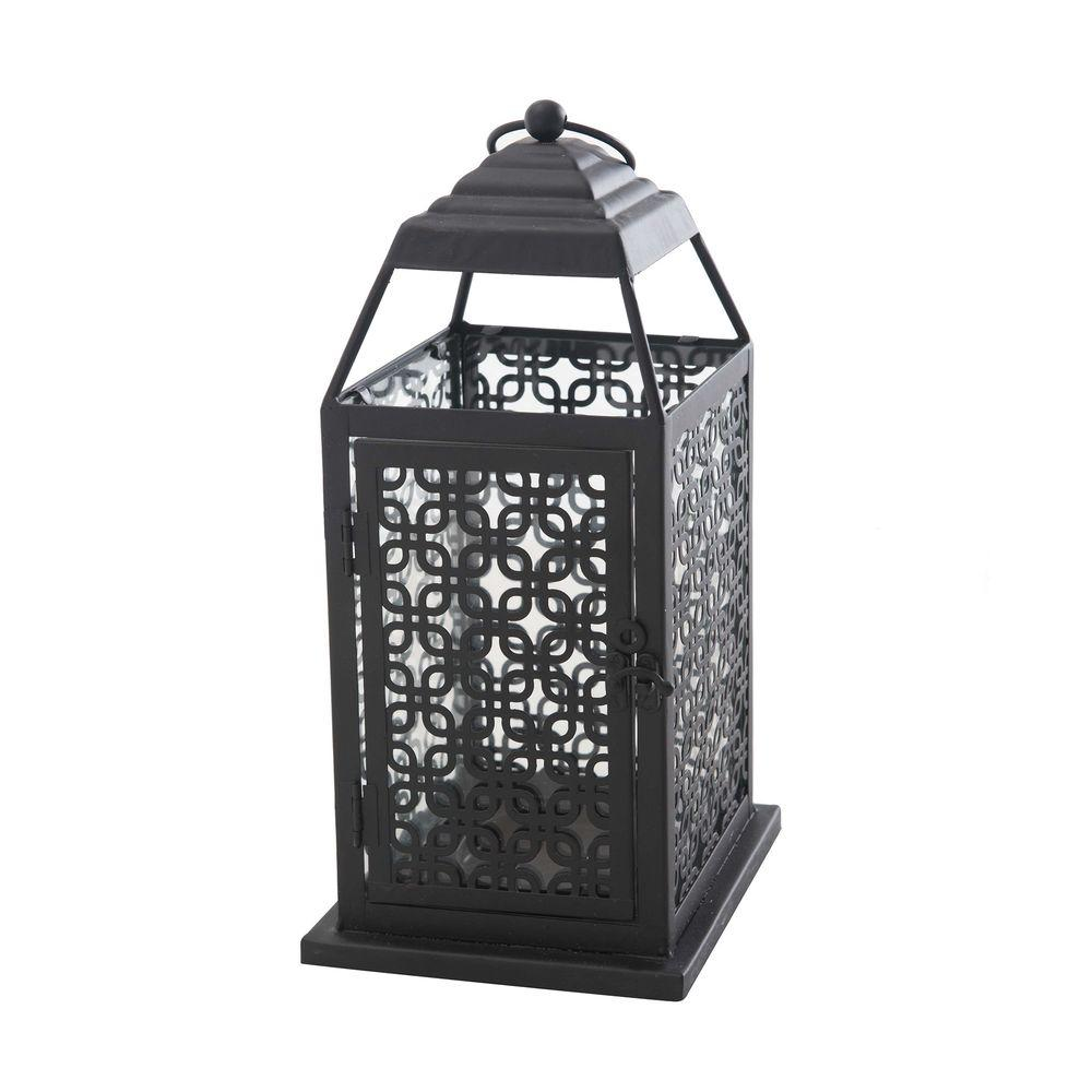Sunjoy Small Pierced Metal Lantern in Antique Bronze, Browns/Tans
