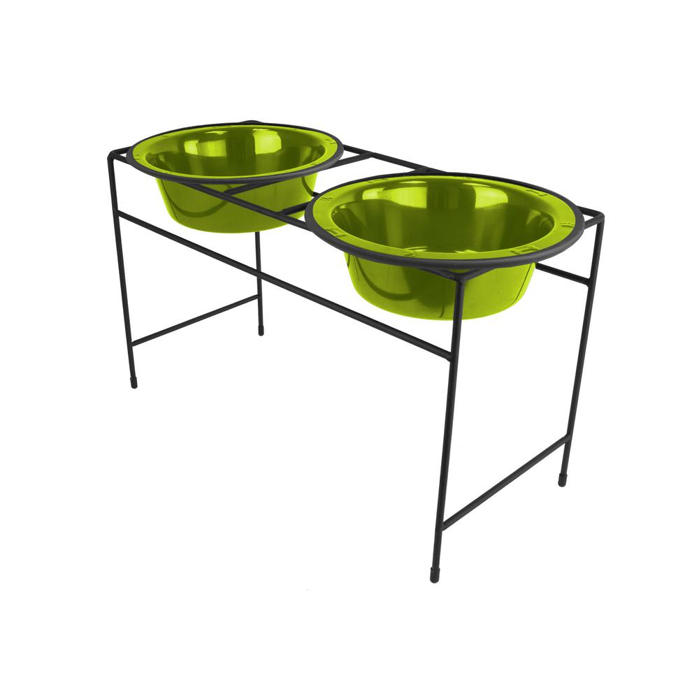 6.25 Cup Modern Double Diner Feeder with Dog Bowls, 24K Gold