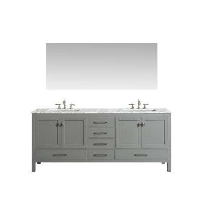 Aberdeen 83.3 in. W x 22 in. D x 35 in. H Vanity in Grey with Carrara Marble Vanity Top in White with White Basin