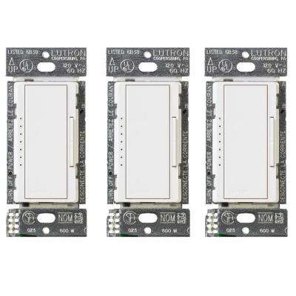 Maestro 150-Watt Single-Pole/3-Way LED/CFL Dimmer, White (3-Pack)