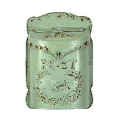 10-1/2 in. L x 15-1/4 in. H Embossed Tin Letter Box in Aqua