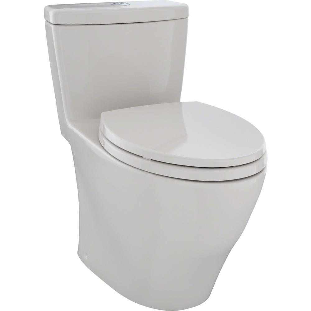 Aquia 1-Piece Elongated 0.9/1.6 GPF Dual Flush Skirted Toilet in Sedona Beige