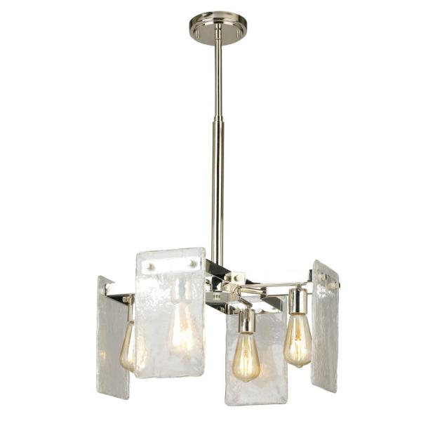 Wolter 4-Light Polished Nickel Chandelier with Clear Sculpted Glass Shades