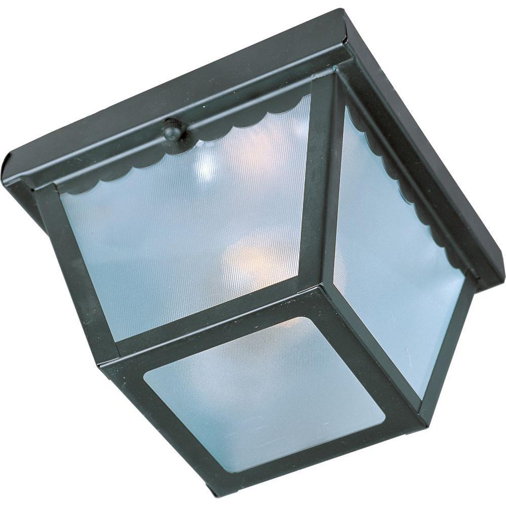 Outdoor Essentials 2-Light Black Outdoor Flushmount