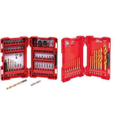 Shockwave Impact Duty Driver Bit Set (50-Piece) with Titanium Shockwave Drill Bit Kit (15-Piece)
