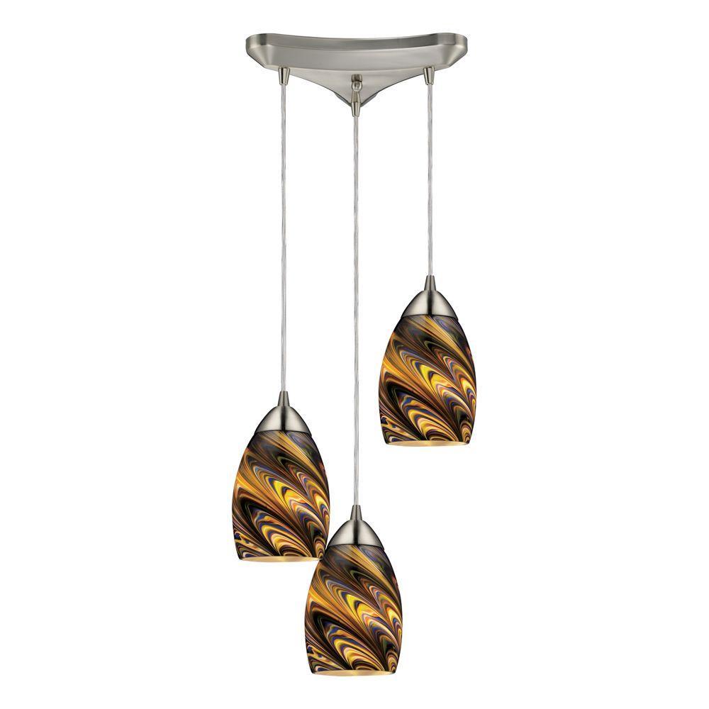 Titan Lighting 3-Light Satin Nickel Ceiling Mount Pendant