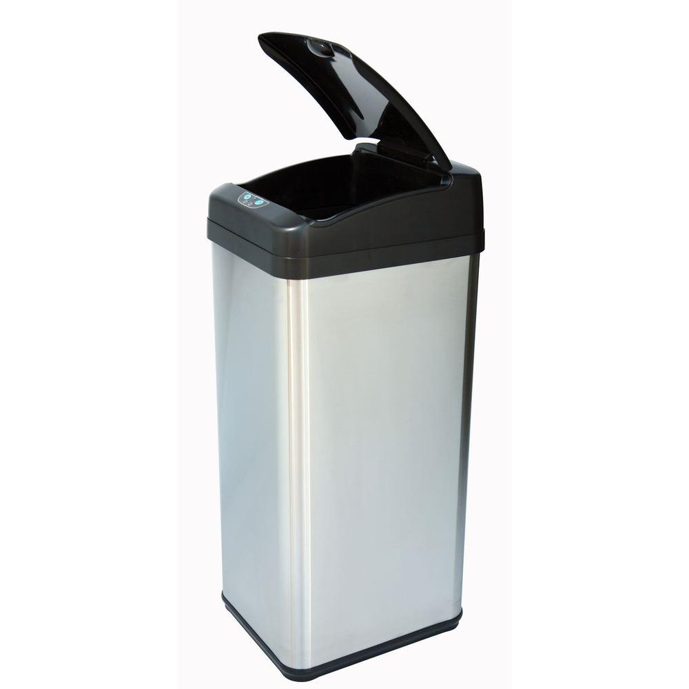 ITouchless 13 Gal. Stainless Steel Square Extra Wide Lid Opening Motion  Sensing Touchless Trash