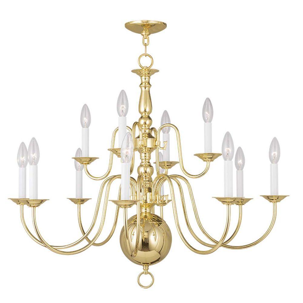 Providence 12-Light Polished Brass Incandescent Ceiling Chandelier