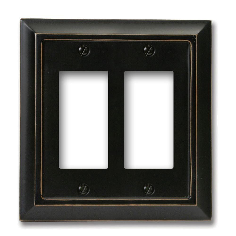 Amerelle Distressed 2 Decora Wall Plate - Black