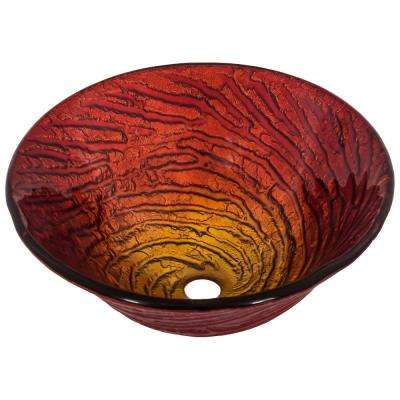 Misto Glass Vessel Sink in Artisan Painted Red