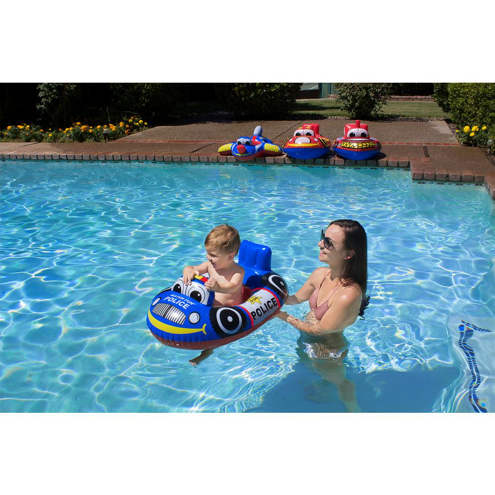 Poolmaster Police Car Baby Swimming Pool Float Rider Pool Toy