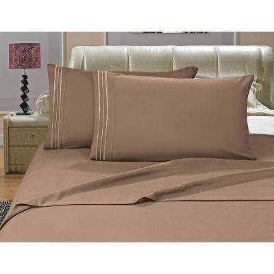 1500 Series 4-Piece Taupe Triple Marrow Embroidered Pillowcases Microfiber King Size Bed Sheet Set