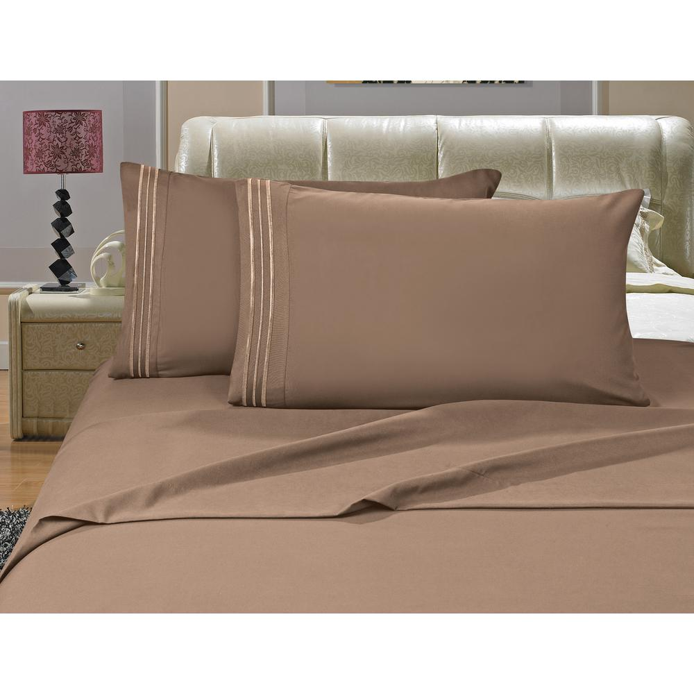 1500 Series 4-Piece Taupe Triple Marrow Embroidered Pillowcases Microfiber Queen