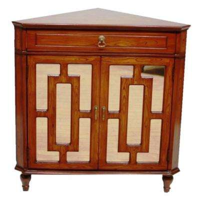 Shelly Assembled Mahogany Veneer Wood 31 in. x 31 in. x 17 in. Mirrored Glass Corner Cabinet