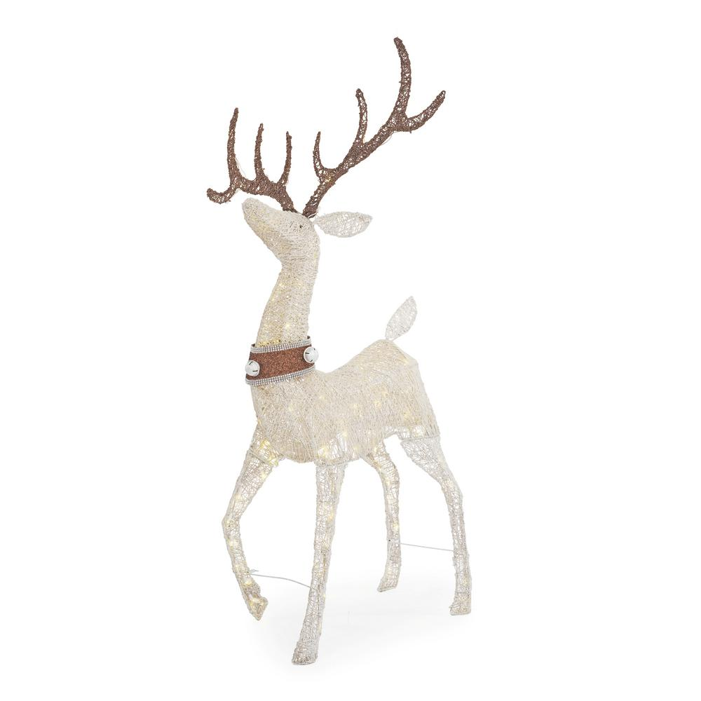 Home Accents Holiday 56 in. Warm White LED White PVC Standing Deer with Collar