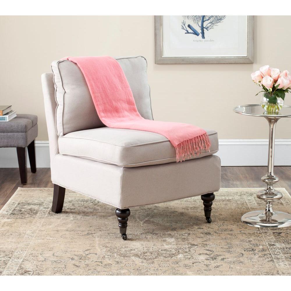 Randy Taupe Linen Slipper Chair