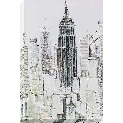 36 in. x 24 in. New York Lines Sketched Painted Canvas Wall Art