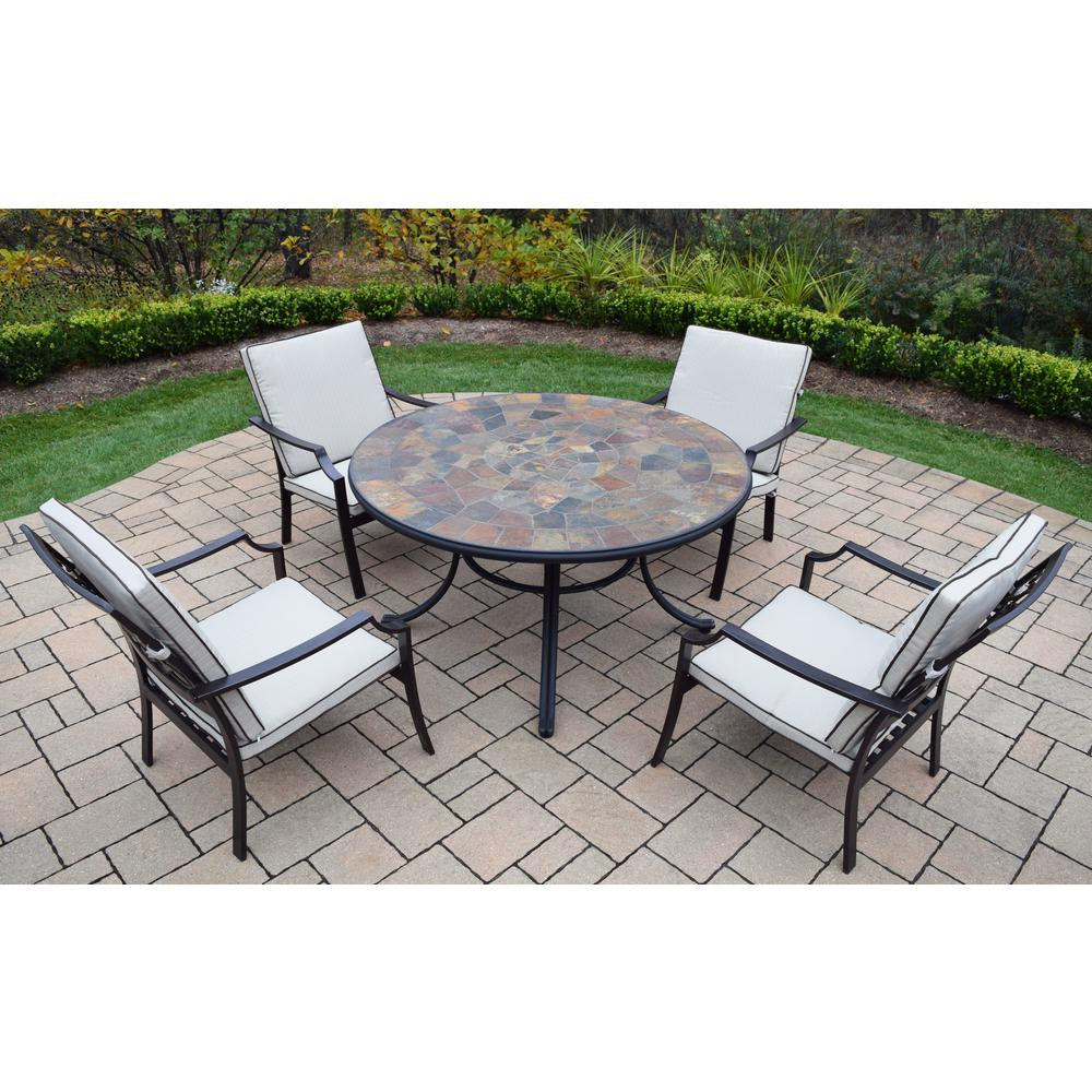 Stone Art 5-Piece Aluminum Outdoor Dining Set with Oatmeal Cushions