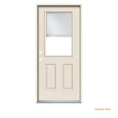32 in. x 80 in. Primed Right-Hand Inswing 1/2-Lite Clear Steel Prehung Front Door w/ Brickmould