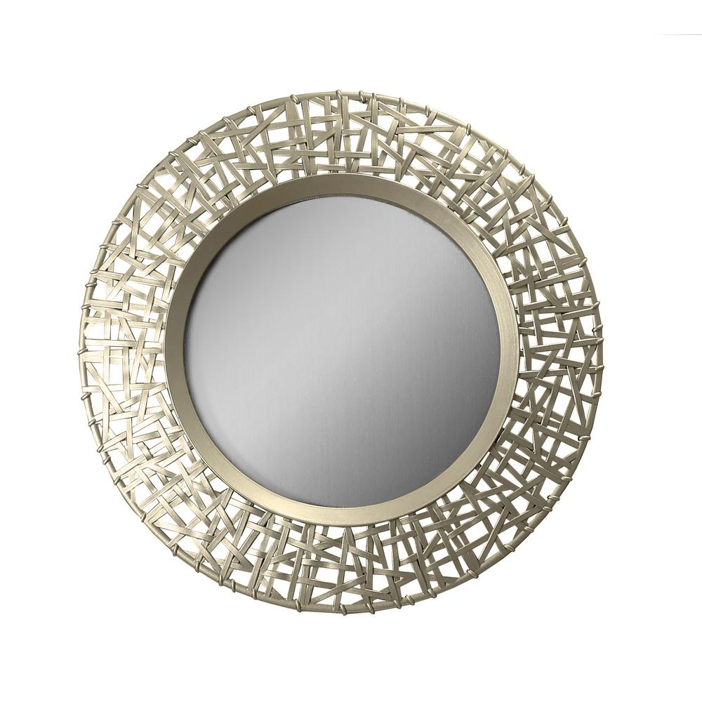 Arthouse Abstract Golden Round Decorative Mirror 5230 The Home Depot