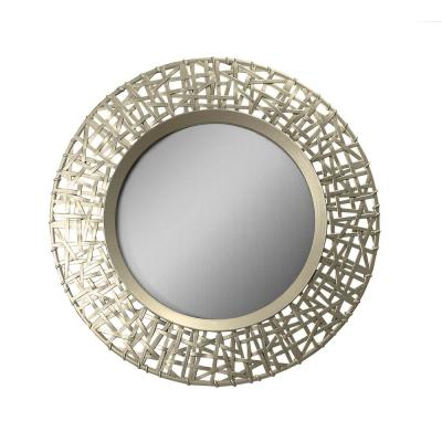 Abstract Golden Round Decorative Mirror