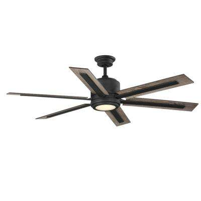 Palermo Grove 60 in. Integrated LED Indoor Gilded Iron Dual Mount Ceiling Fan with Light and Remote Control