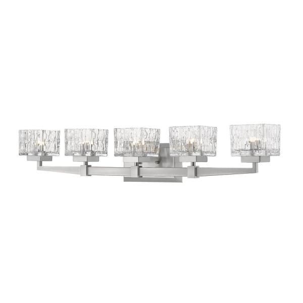 5.25 in. 5-Light Brushed Nickel Vanity Light with Clear Glass Shade