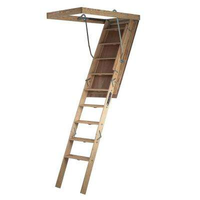Big Boy Series 7 ft. - 8 ft. 9 in., 30 in. x 60 in. Wood Attic Ladder with 350 lbs. Maximum Load Capacity