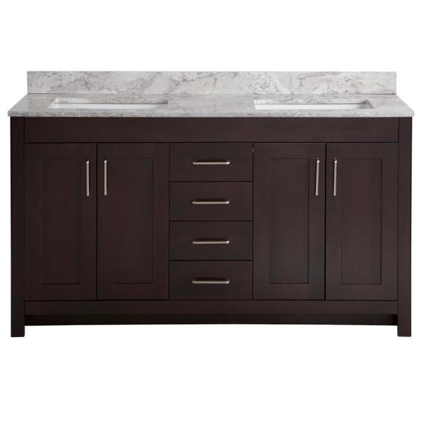 Westcourt 61 in. W x 22 in. D Bath Vanity in Chocolate with Stone Effect Vanity Top in Winter Mist with White Sink