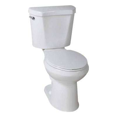2-piece 1.28 GPF High Efficiency Single Flush Round Toilet in White, Seat Included (9-Pack)
