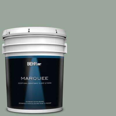 5 gal. #MQ6-17 Green Trellis Satin Enamel Exterior Paint and Primer in One