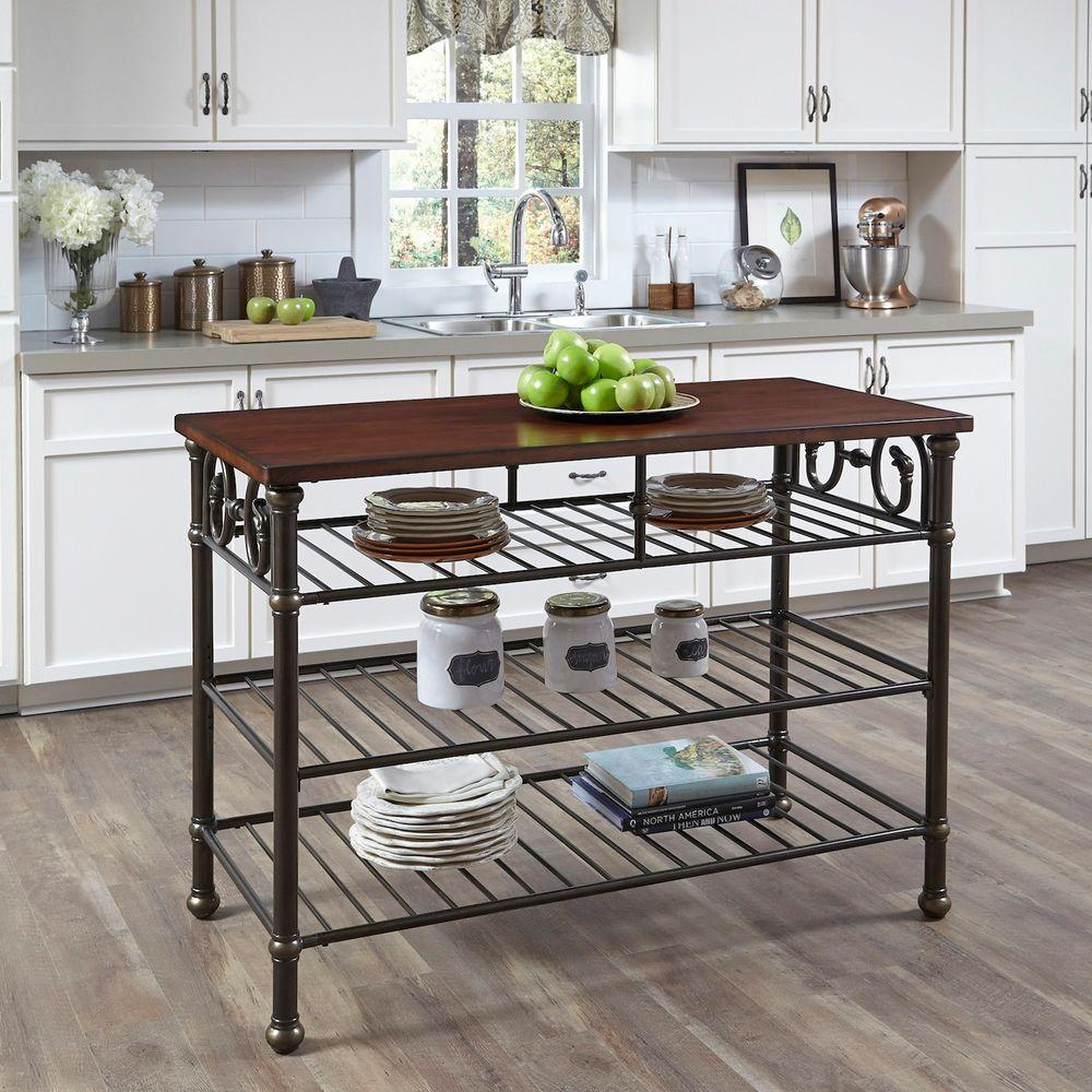 richmond hill black kitchen utility table with wood top - Black Kitchen Island