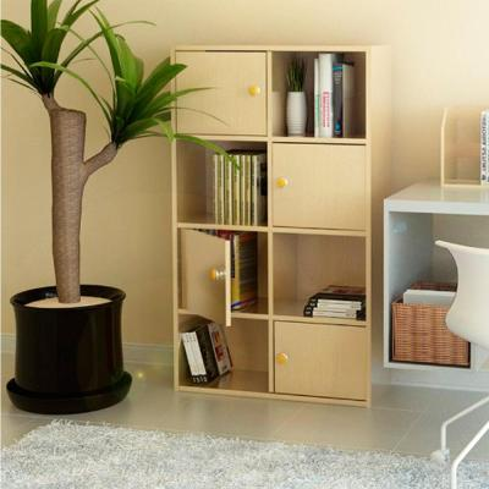 41.7 in. Steam Beech Wood 8-shelf Standard Bookcase with Doors