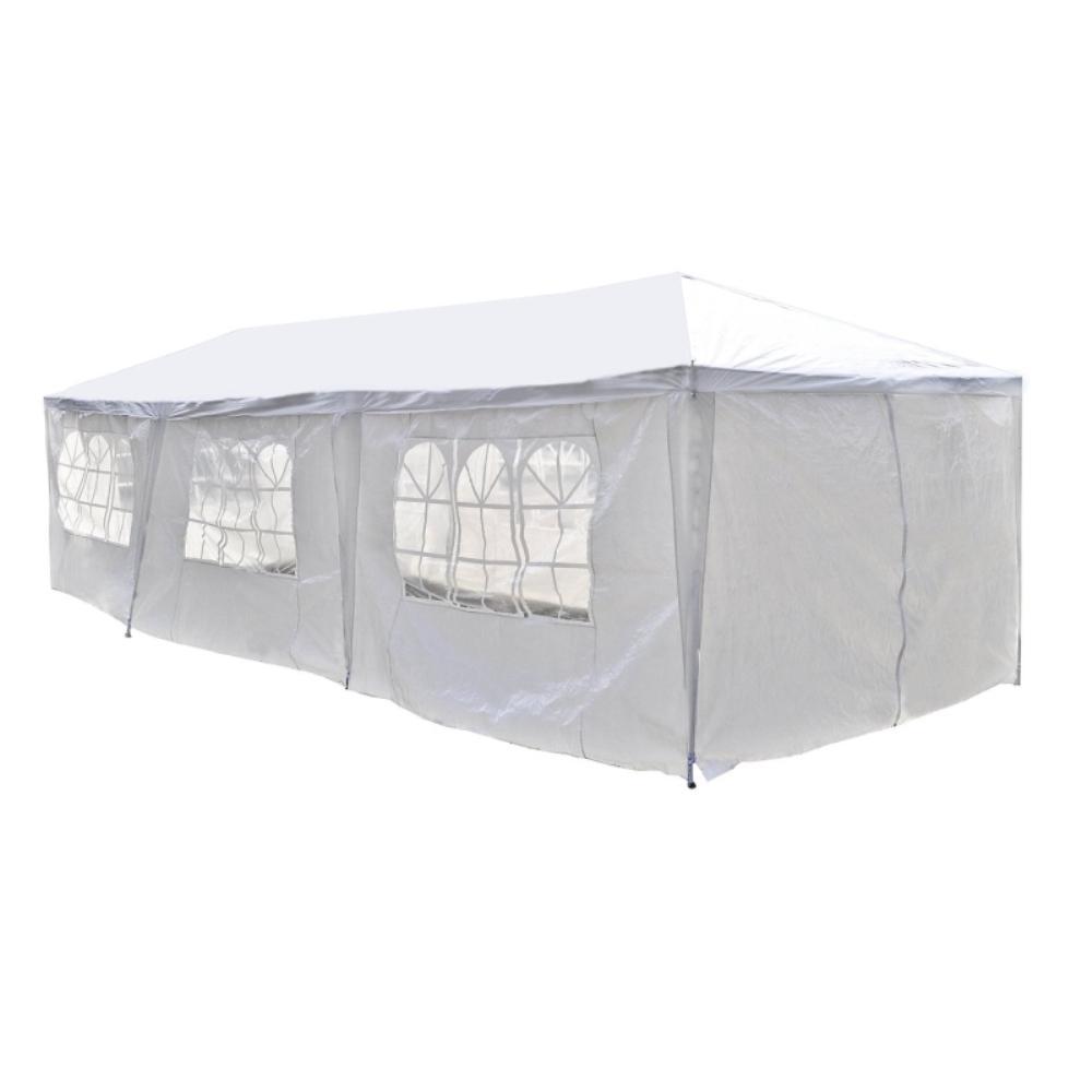 10 ft. x 30 ft. x 8.2 ft. White Roof Polyethylene Carport