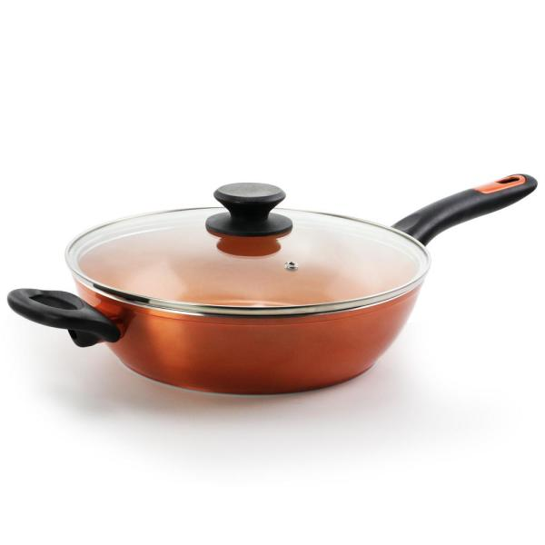 Gibson Home Home Cuisine 3 Qt Aluminum Ceramic Nonstick Saute Pan In Copper With Glass Lid 985112071m The Home Depot