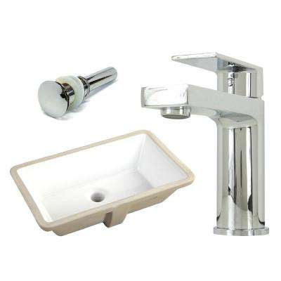 20-7/8 in. Rectangle Undermount Vitreous Glazed Ceramic Sink with Polished Chrome Bathroom Faucet /Pop-up Drain Combo
