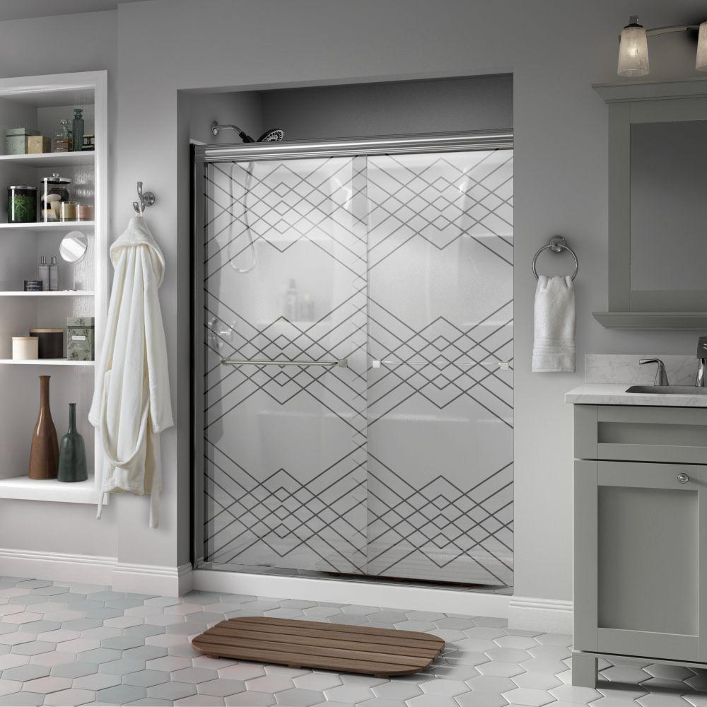 Delta Delta Everly 60 in. x 70 in. Semi-Frameless Traditional Sliding Shower Door in Chrome with Argyle Glass