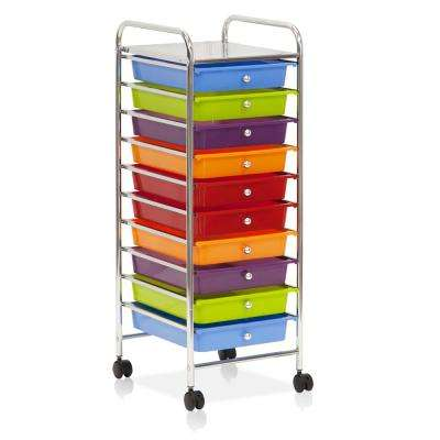 Wayar 10-Self Chrome 4-Wheeled 10-Drawer Trolley in Rainbow