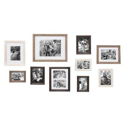 Bordeaux Multicolored Brown, White, and Gray Picture Frame (Set of 10)