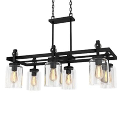Knollwood 6-Light Antique Bronze Chandelier with Vintage Brass Accents and Clear Glass Shades
